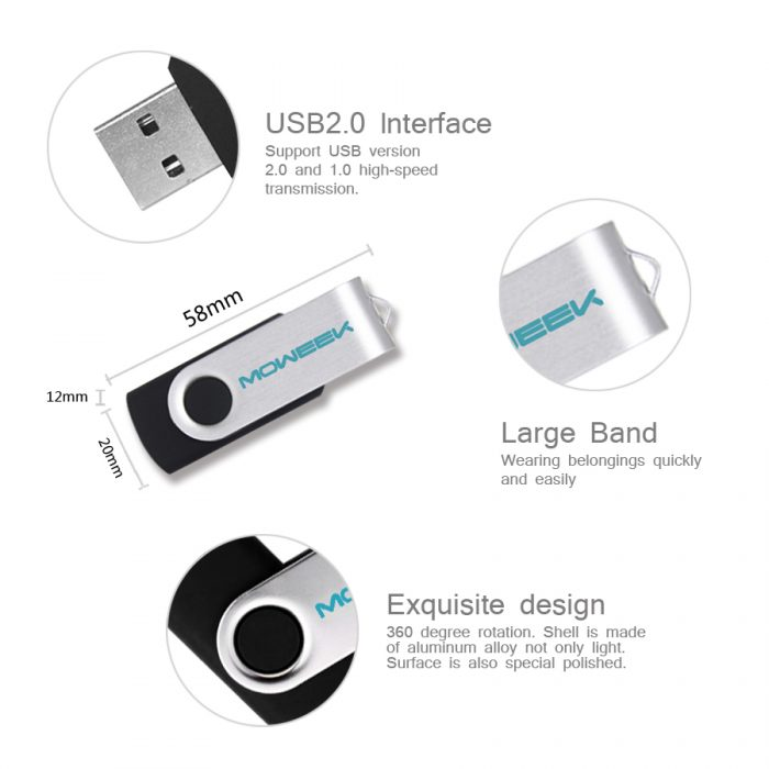 Moweek clé USB mode rotation usb flash drive vraie capacite 4 8 16 32gb usb